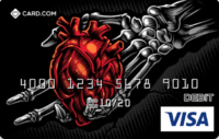 Card.com card with skeleton hand holding a heart